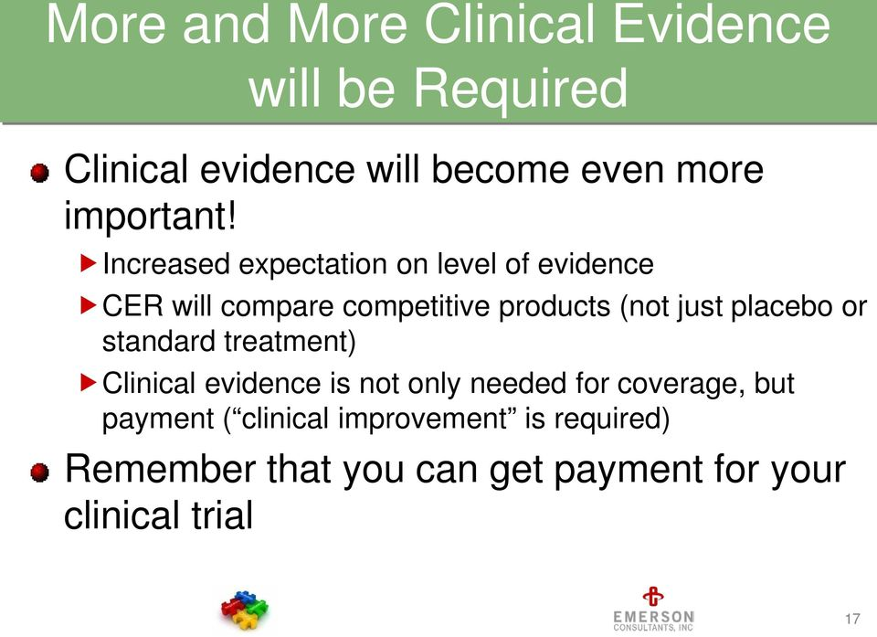 Increased expectation on level of evidence CER will compare competitive products (not just