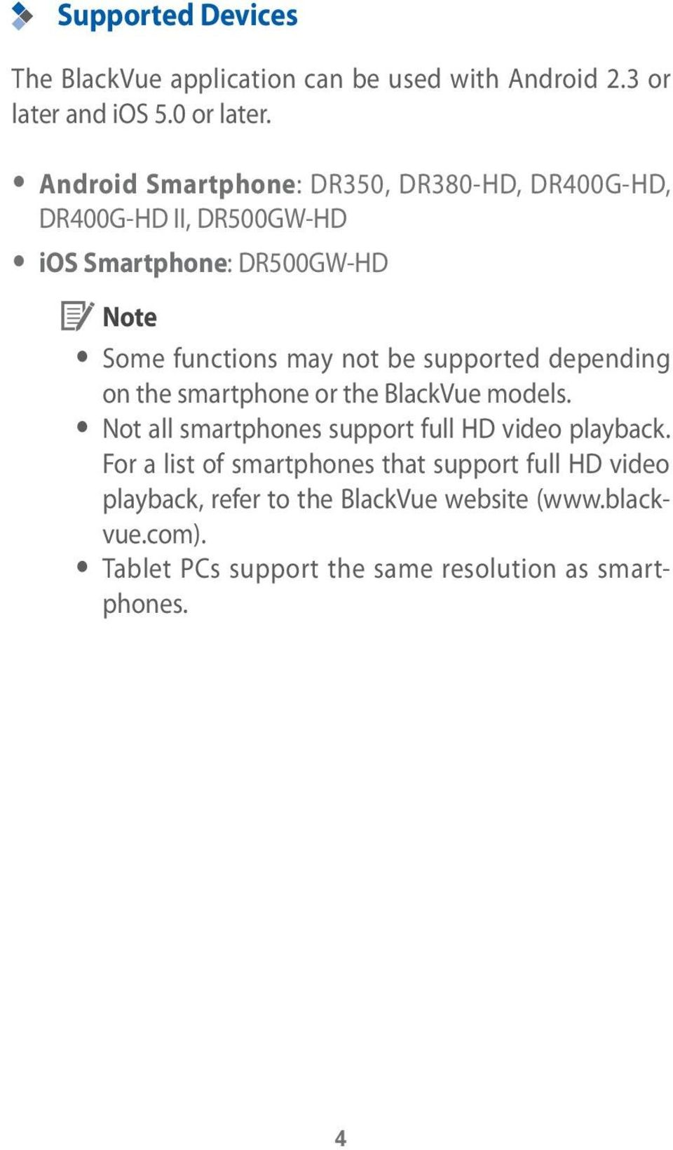 be supported depending on the smartphone or the BlackVue models. y Not all smartphones support full HD video playback.