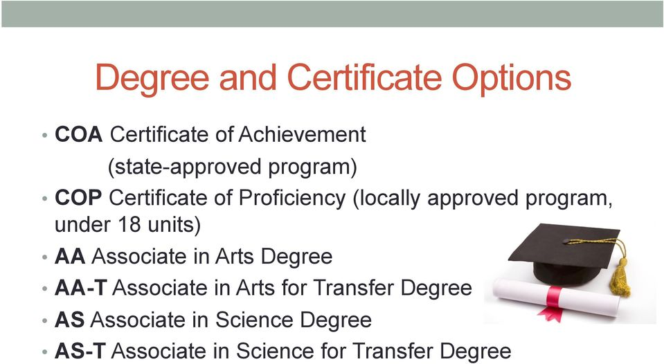 program, under 18 units) AA Associate in Arts Degree AA-T Associate in Arts