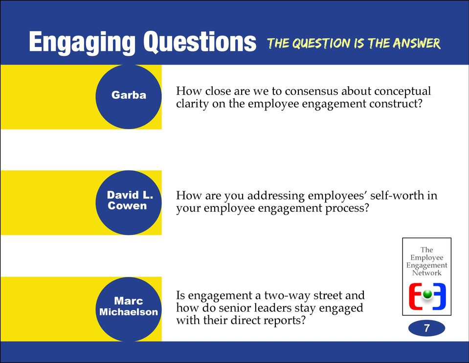 Cowen How are you addressing employees self-worth in your employee engagement
