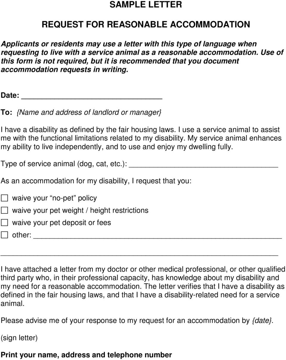Date: To: {Name and address of landlord or manager} I have a disability as defined by the fair housing laws.
