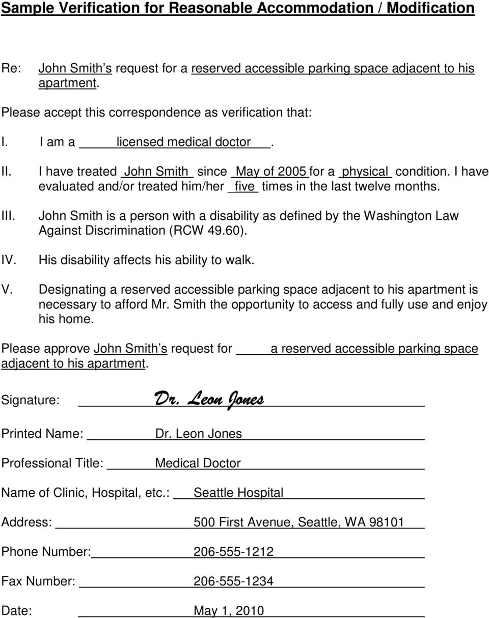 I have evaluated and/or treated him/her _five times in the last twelve months. John Smith is a person with a disability as defined by the Washington Law Against Discrimination (RCW 49.60).