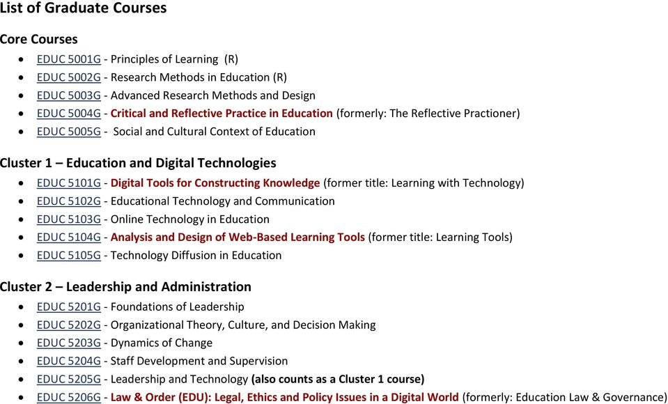 Tools for Constructing Knowledge (former title: Learning with Technology) EDUC 5102G - Educational Technology and Communication EDUC 5103G - Online Technology in Education EDUC 5104G - Analysis and