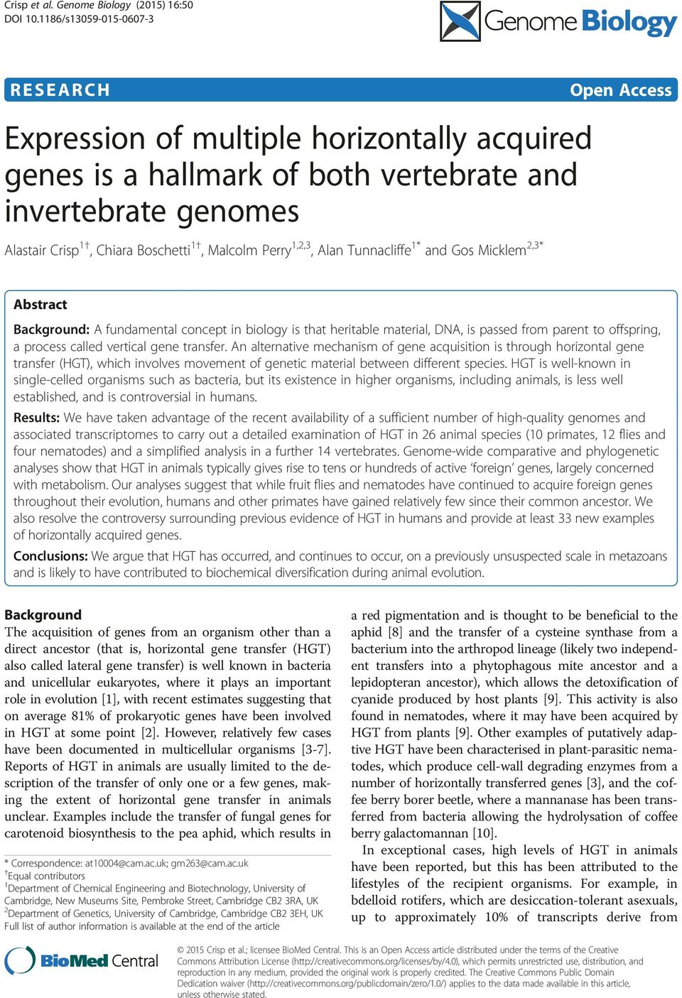Perry 1,2,3, Alan Tunnacliffe 1 and Gos Micklem 2,3 Abstract Background: A fundamental concept in biology is that heritable material, DNA, is passed from parent to offspring, a process called