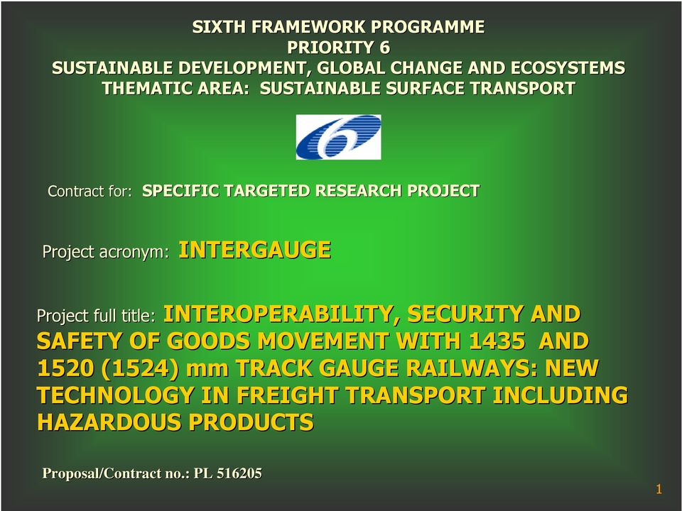 Project full title: INTEROPERABILITY, SECURITY AND SAFETY OF GOODS MOVEMENT WITH 5 AND 520 (52) mm TRACK