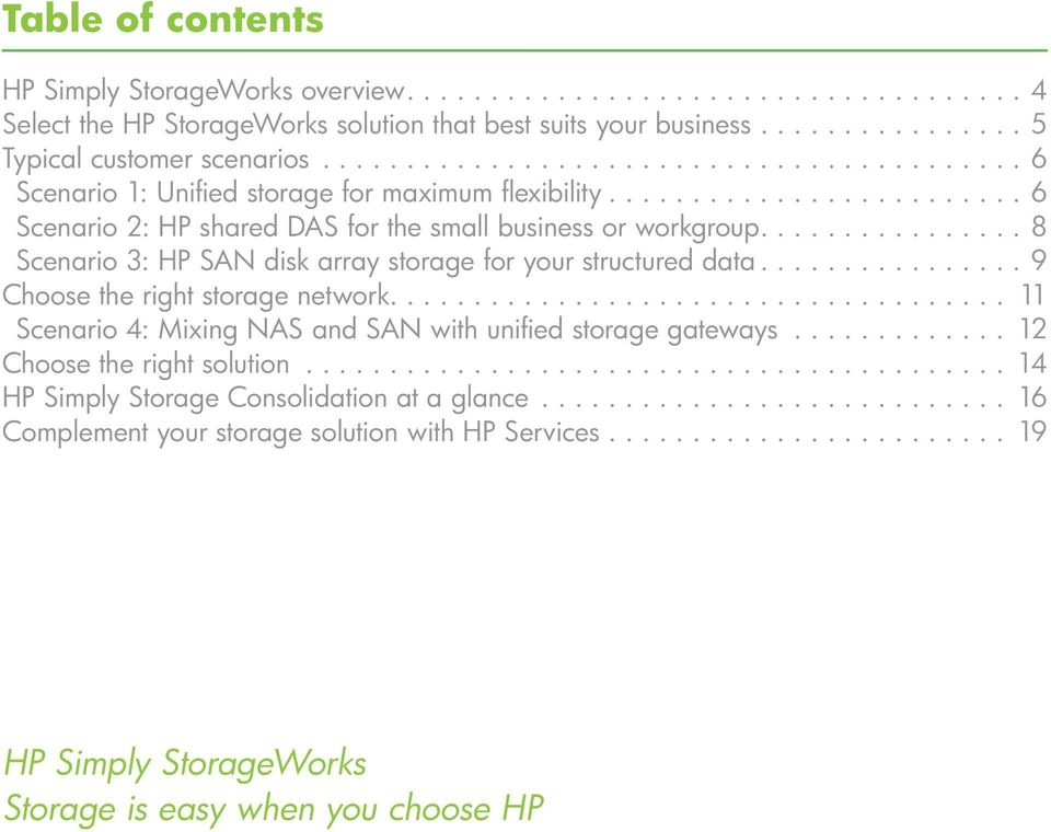 ... 8 Scenario 3: HP SAN disk array storage for your structured data... 9 Choose the right storage network..................................... 11 Scenario 4: Mixing NAS and SAN with unified storage gateways.