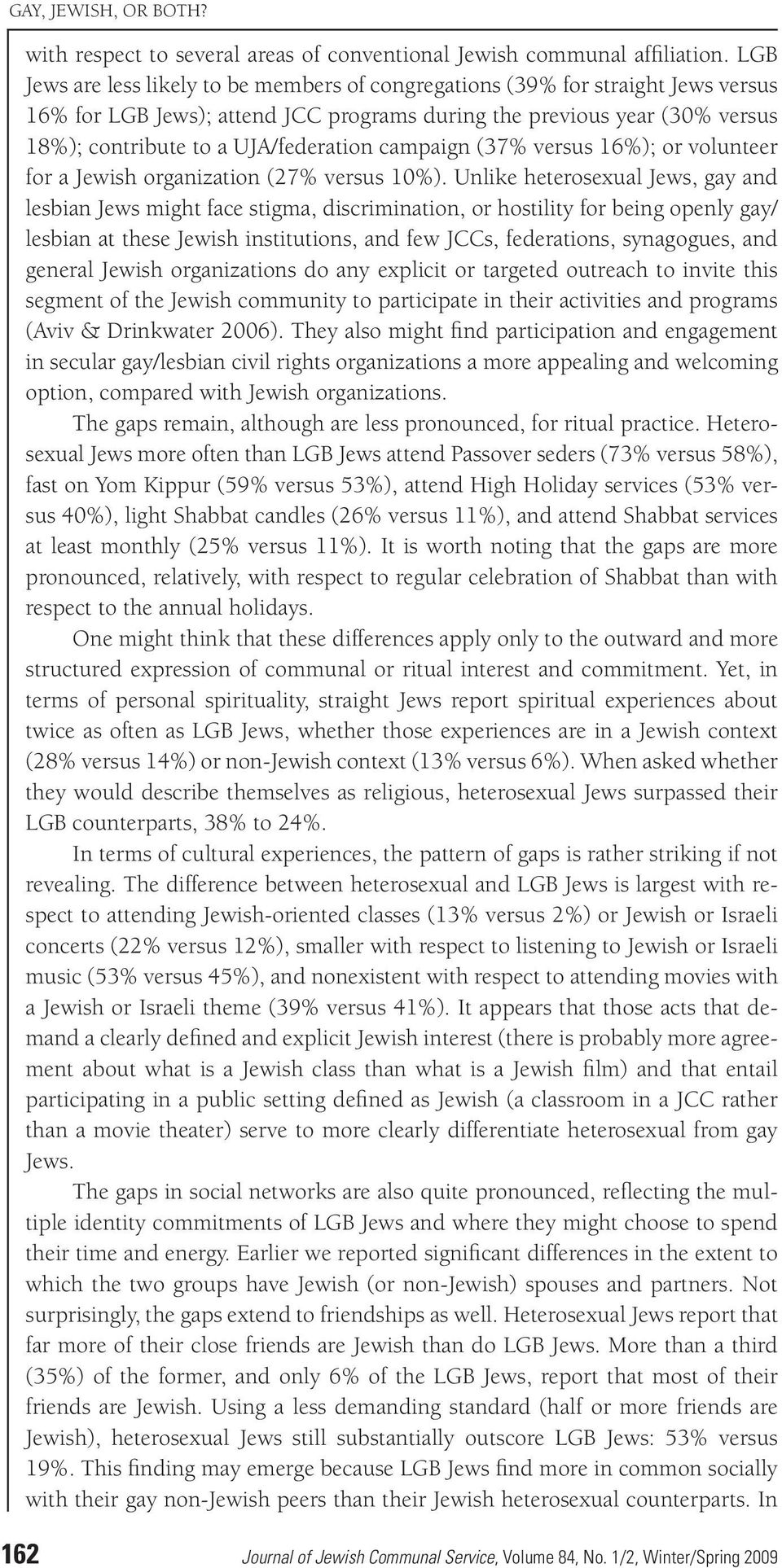 campaign (37% versus 16%); or volunteer for a Jewish organization (27% versus 10%).