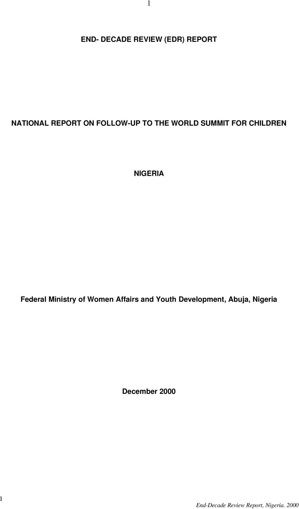 Federal Ministry of Women Affairs and Youth Development,