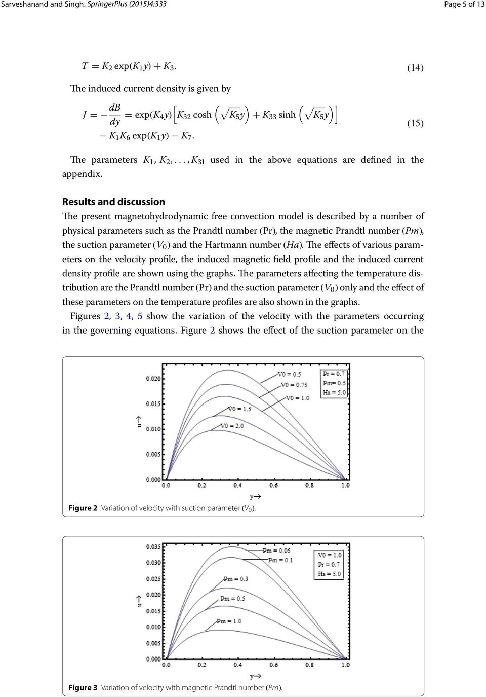 Results and discussion The present magnetohydrodynamic free convection model is described by a number of physical parameters such as the Prandtl number (Pr), the magnetic Prandtl number (Pm), the