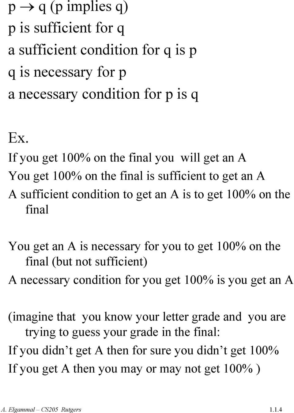 final You get an A is necessary for you to get 100% on the final (but not sufficient) A necessary condition for you get 100% is you get an A (imagine that