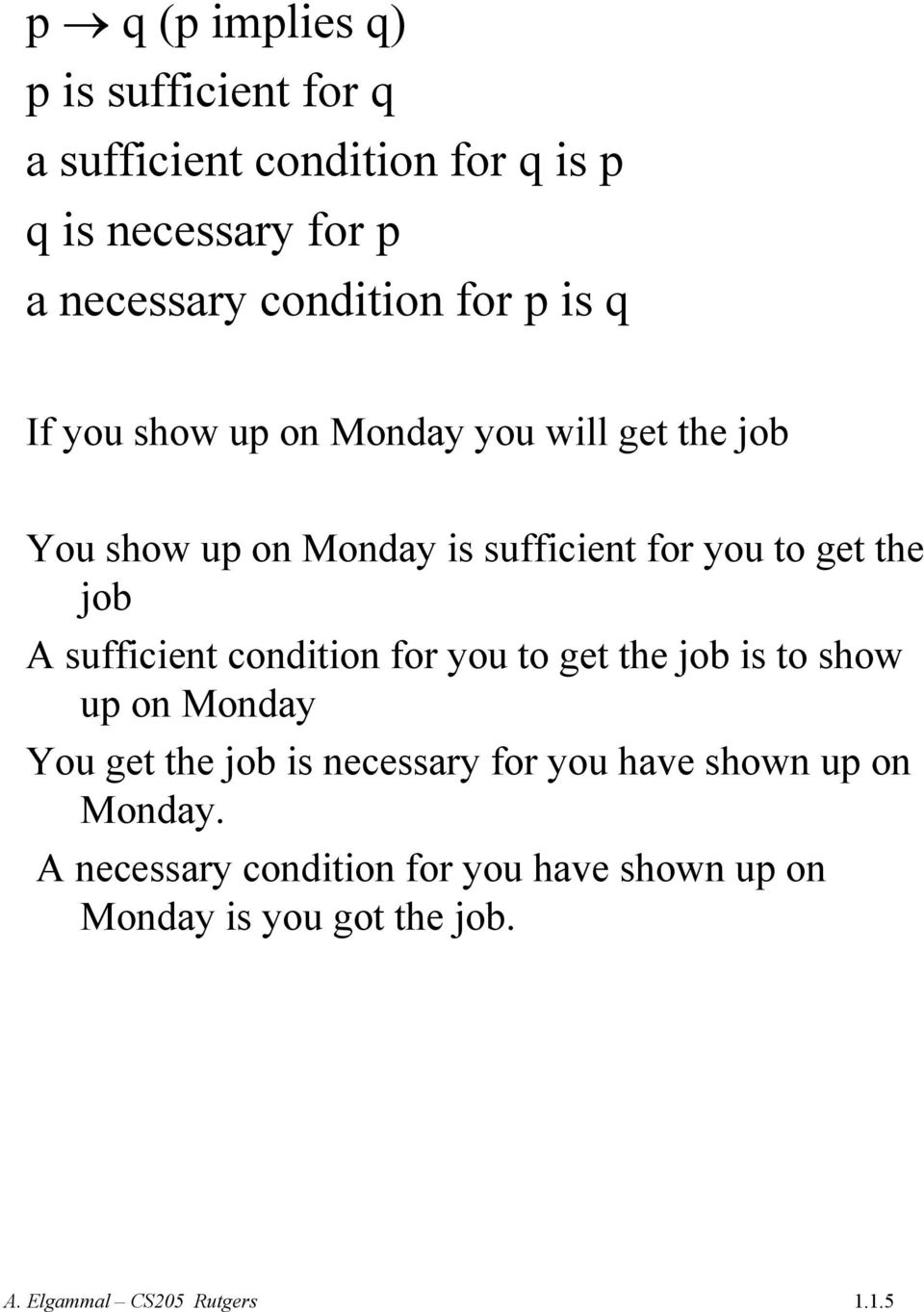 to get the job A sufficient condition for you to get the job is to show up on Monday You get the job is