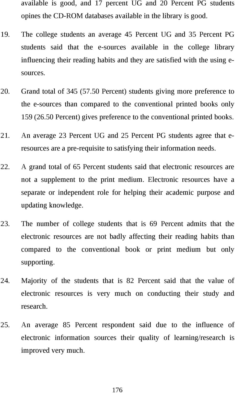 using esources. 20. Grand total of 345 (57.50 Percent) students giving more preference to the e-sources than compared to the conventional printed books only 159 (26.