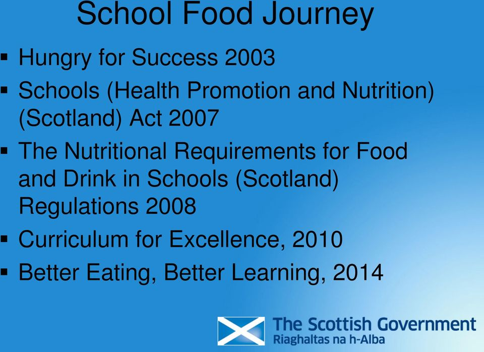 Requirements for Food and Drink in Schools (Scotland)
