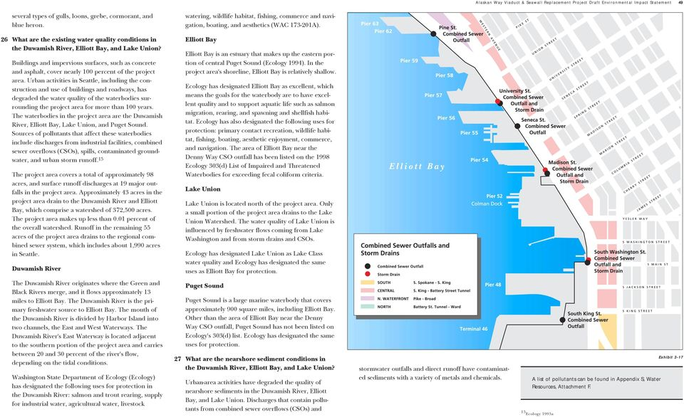 26 What are the existing water quality conditions in the Duwamish River, Elliott Bay, and Lake Union?
