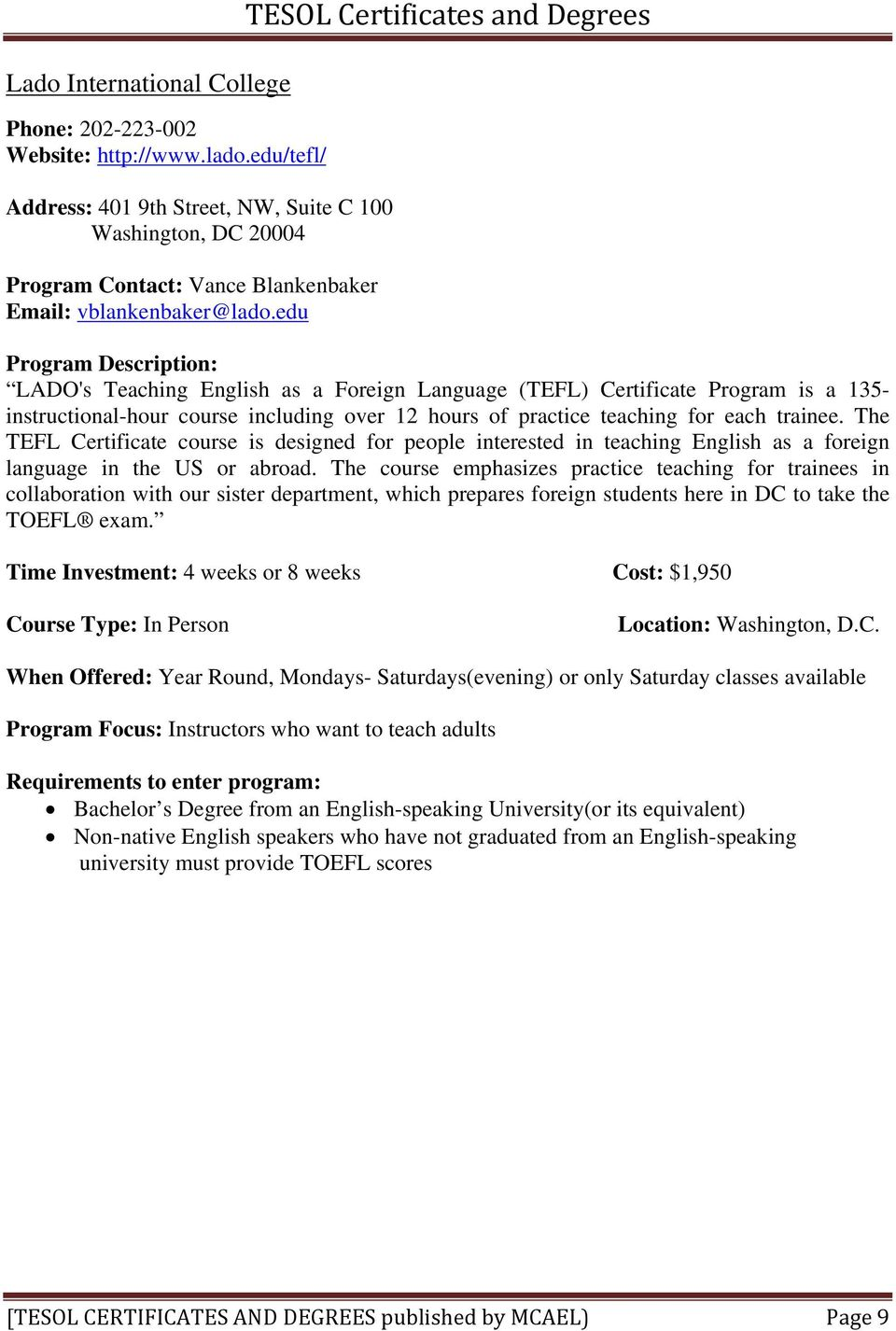 Tesol Certificates And Degrees Pdf