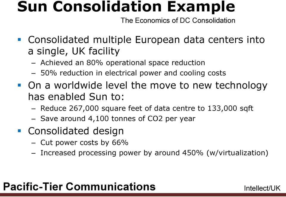 Sun to: Reduce 267,000 square feet of data centre to 133,000 sqft Save around 4,100 tonnes of CO2 per year Consolidated design
