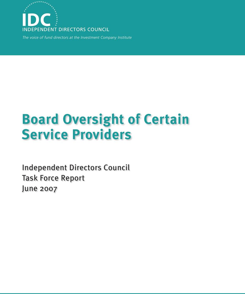 Oversight of Certain Service Providers