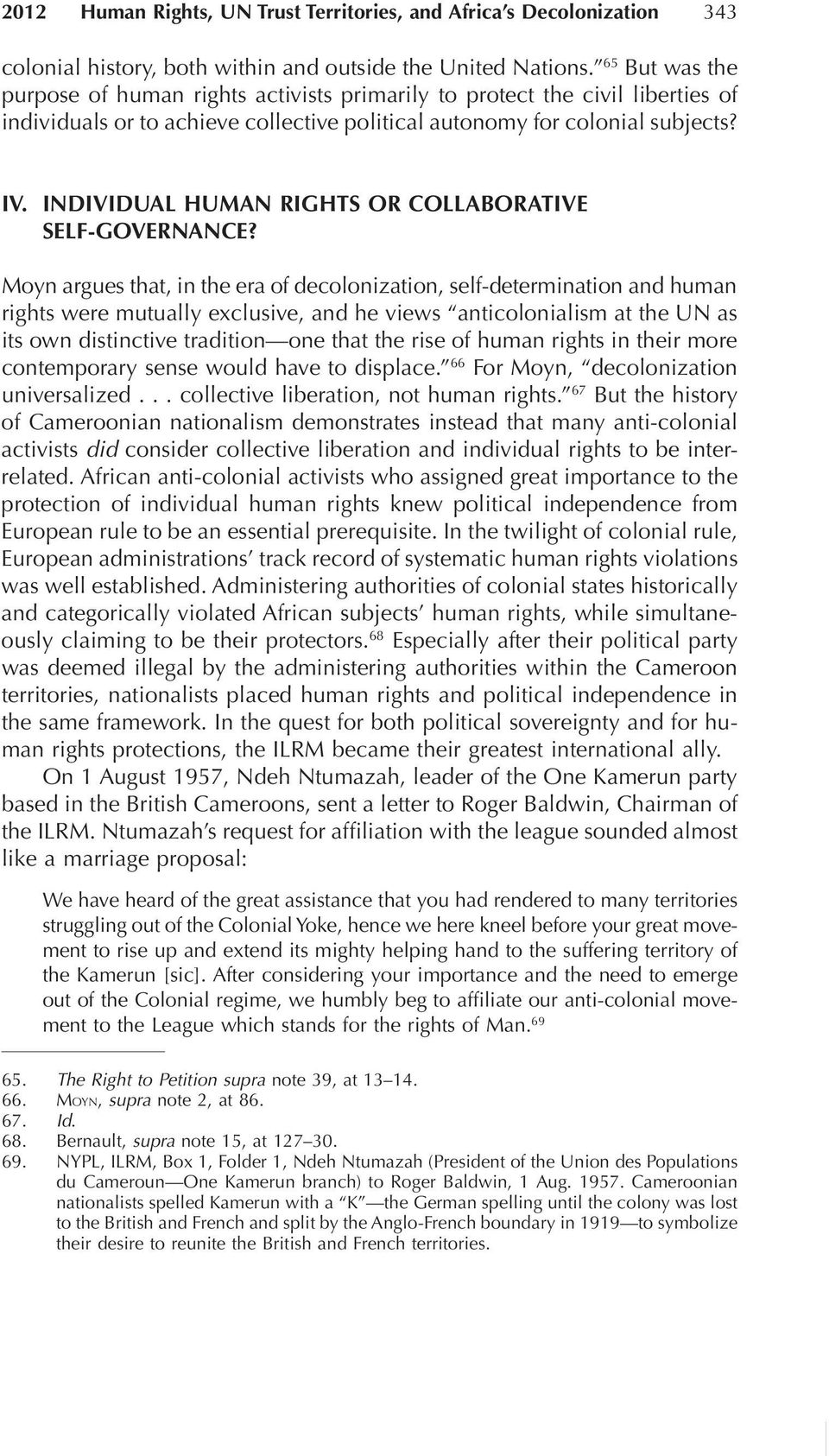 Individual Human Rights or Collaborative Self-GoVERNANce?