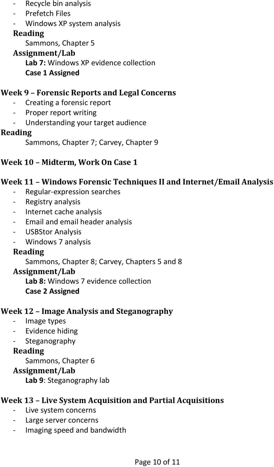 Internet/Email Analysis - Regular-expression searches - Registry analysis - Internet cache analysis - Email and email header analysis - USBStor Analysis - Windows 7 analysis Sammons, Chapter 8;