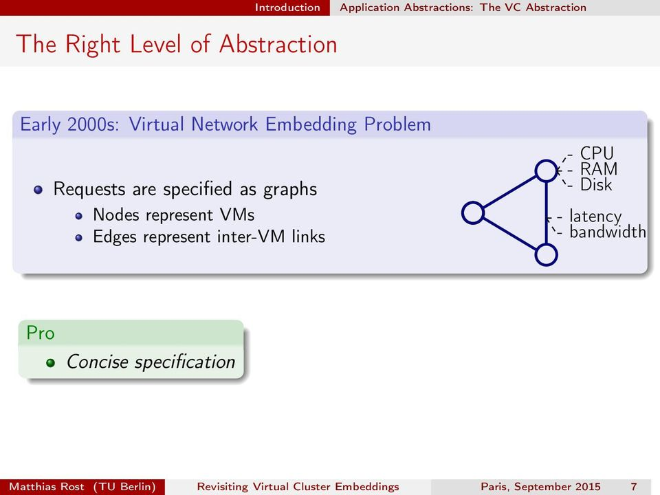 represent VMs Edges represent inter-vm links - CPU - RAM - Disk - latency - bandwidth Pro