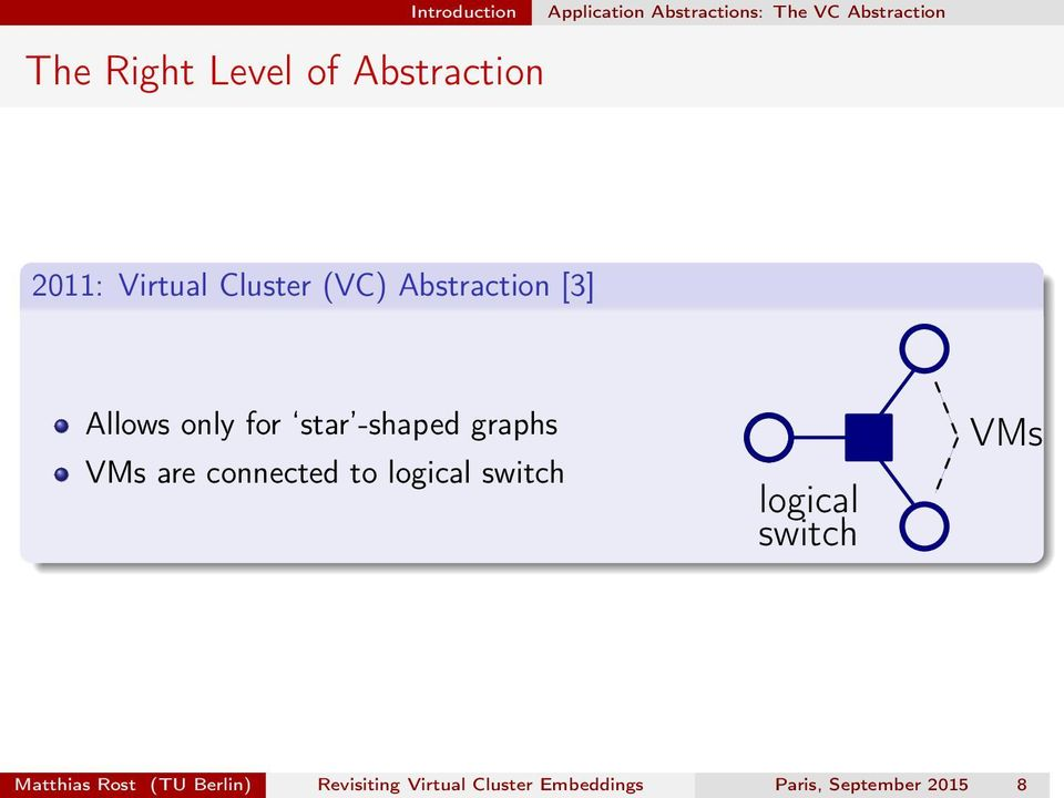 -shaped graphs VMs are connected to logical switch logical switch VMs