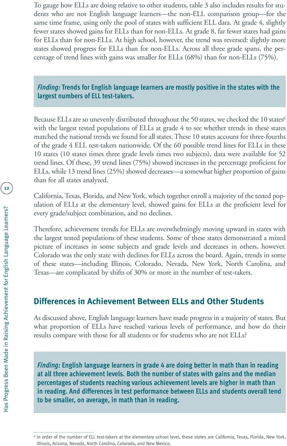 At high school, however, the trend was reversed: slightly more states showed progress for ELLs than for non-ells.