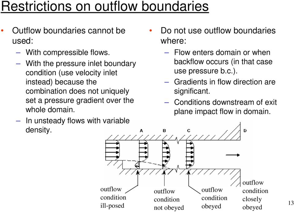 domain. In unsteady flows with variable density. Do not use outflow boundaries where: Flow enters domain or when backflow occurs (in that case use pressure b.