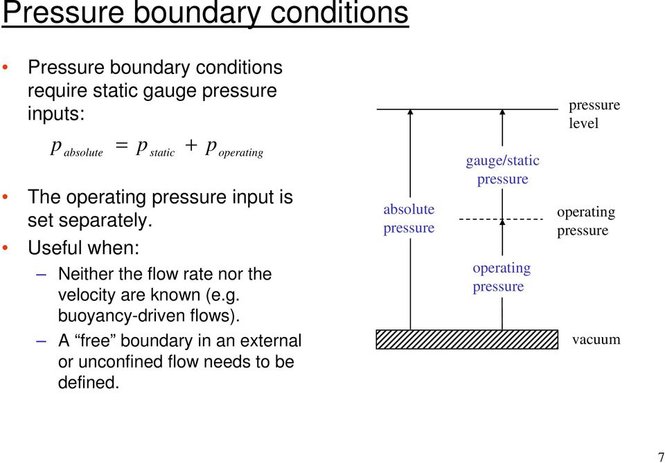 Useful when: static operating Neither the flow rate nor the velocity are known (e.g. buoyancy-driven flows).