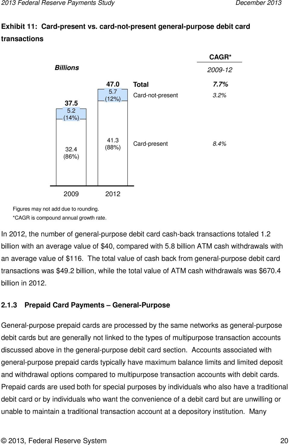 2 billion with an average value of $40, compared with 5.8 billion ATM cash withdrawals with an average value of $116. The total value of cash back from general-purpose debit card transactions was $49.