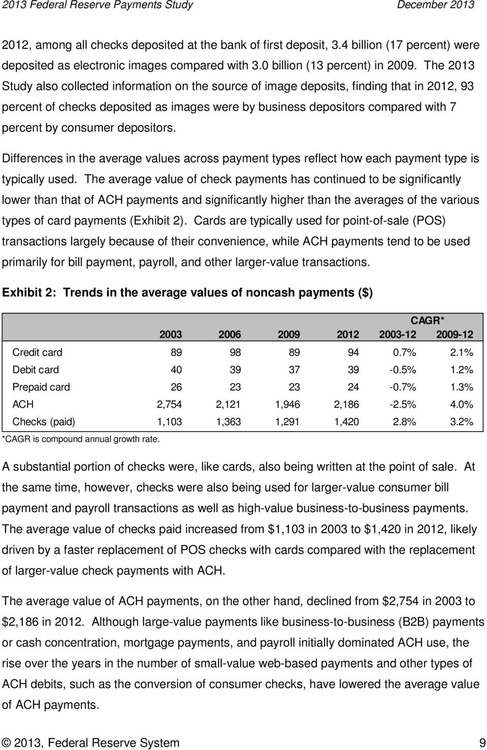 consumer depositors. Differences in the average values across payment types reflect how each payment type is typically used.