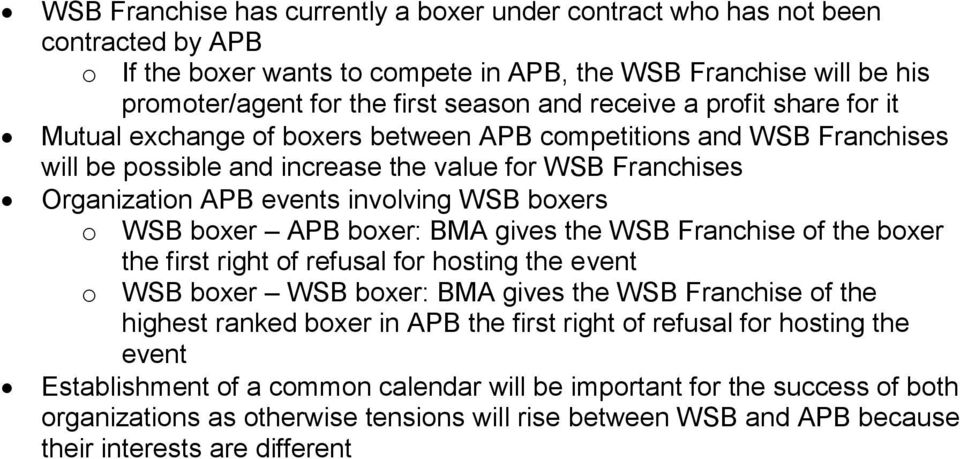 boxers o WSB boxer APB boxer: BMA gives the WSB Franchise of the boxer the first right of refusal for hosting the event o WSB boxer WSB boxer: BMA gives the WSB Franchise of the highest ranked boxer