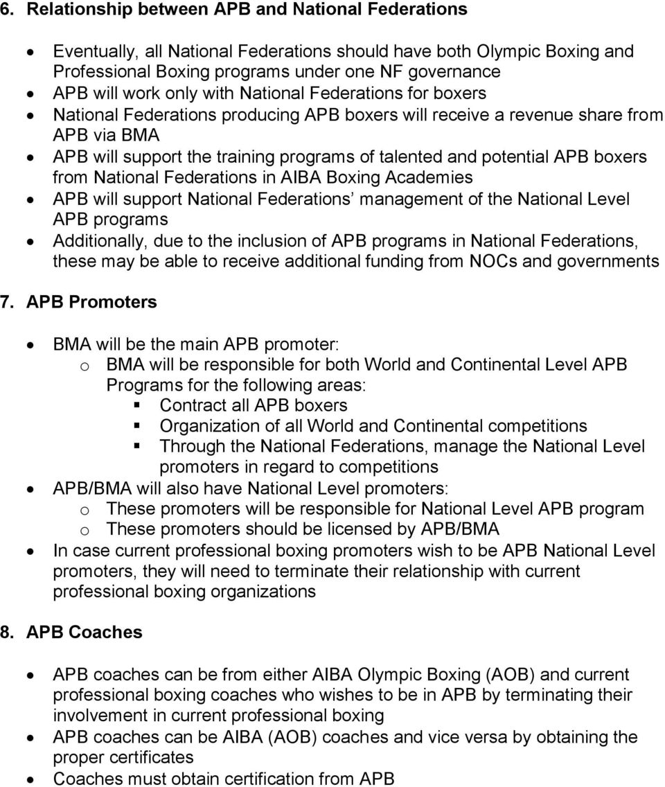 boxers from National Federations in AIBA Boxing Academies APB will support National Federations management of the National Level APB programs Additionally, due to the inclusion of APB programs in
