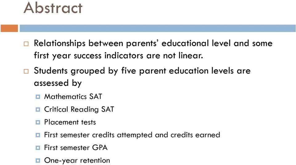 Students grouped by five parent education levels are assessed by Mathematics