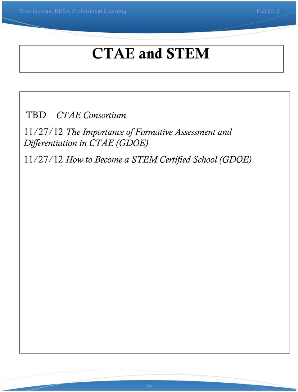Differentiation in CTAE (GDOE) 11/27/12 How