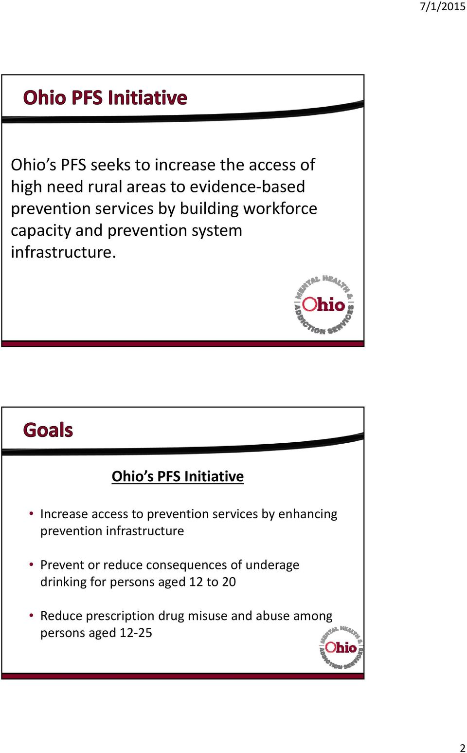 Ohio s PFS Initiative Increase access to prevention services by enhancing prevention infrastructure