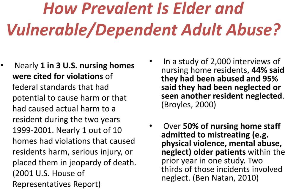 Nearly 1 out of 10 homes had violations that caused residents harm, serious injury, or placed them in jeopardy of death. (2001 U.S.