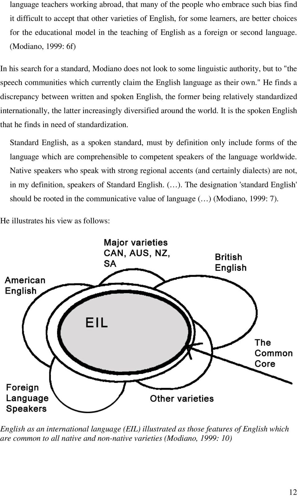 "(Modiano, 1999: 6f) In his search for a standard, Modiano does not look to some linguistic authority, but to ""the speech communities which currently claim the English language as their own."
