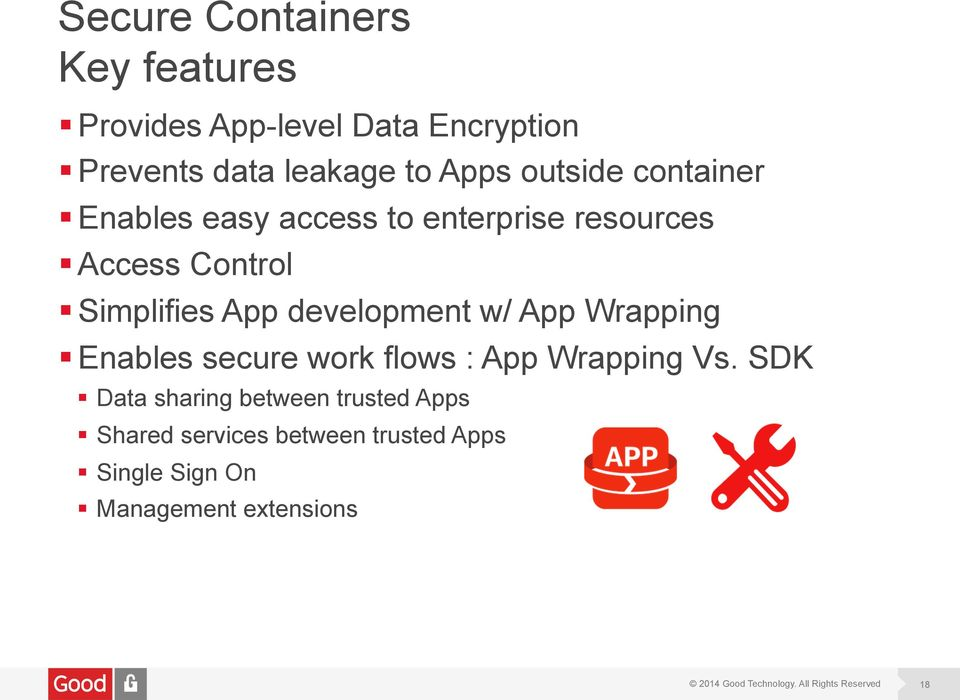 App development w/ App Wrapping Enables secure work flows : App Wrapping Vs.