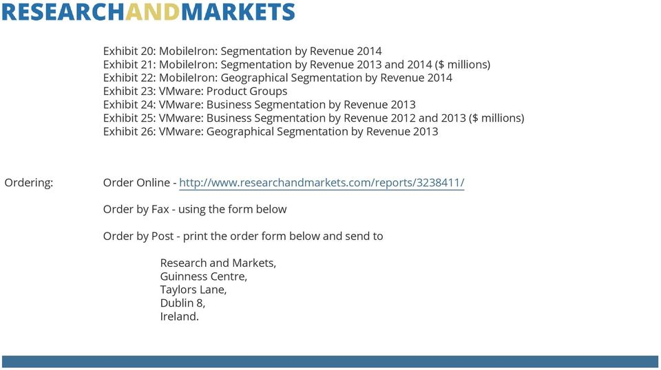 Revenue 2012 and 2013 ($ millions) Exhibit 26: VMware: Geographical Segmentation by Revenue 2013 Ordering: Order Online - http://www.researchandmarkets.