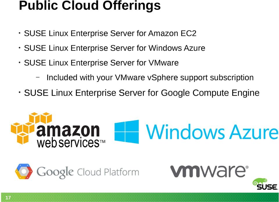Enterprise Server for VMware 17 Included with your VMware vsphere