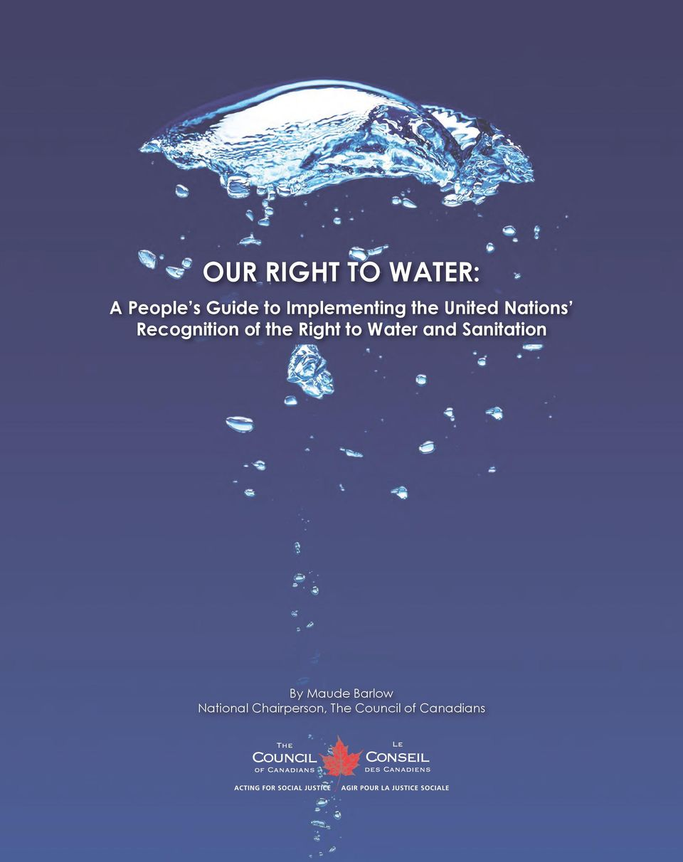 of the Right to Water and Sanitation By Maude