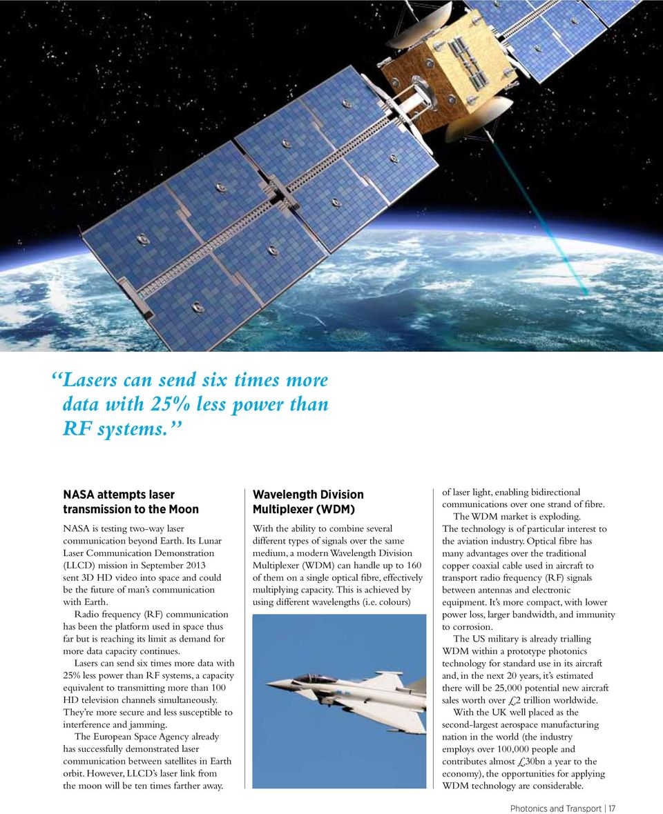 Radio frequency (RF) communication has been the platform used in space thus far but is reaching its limit as demand for more data capacity continues.