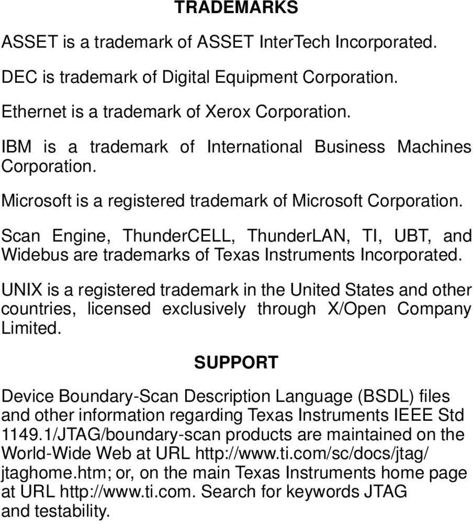 Scan Engine, ThunderCELL, ThunderLAN, TI, UBT, and Widebus are trademarks of Texas Instruments Incorporated.