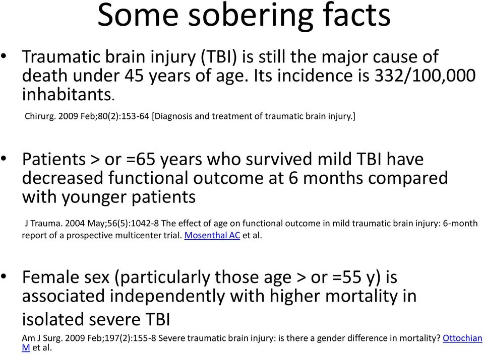 ] Patients > or =65 years who survived mild TBI have decreased functional outcome at 6 months compared with younger patients J Trauma.