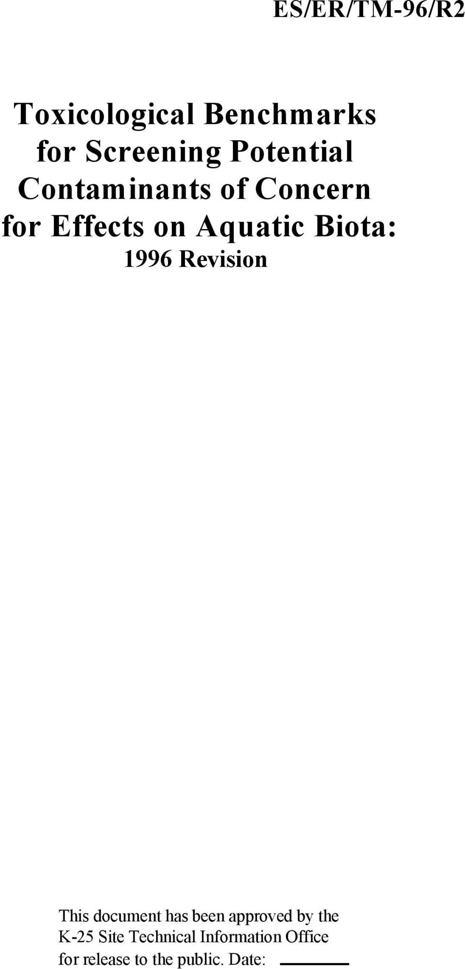 Biota: 1996 Revision This document has been approved by the