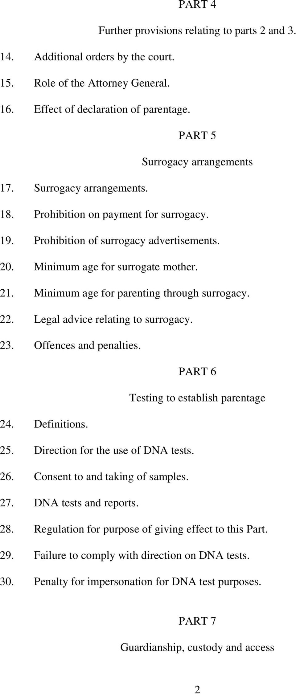 22. Legal advice relating to surrogacy. 23. Offences and penalties. PART 6 Testing to establish parentage 24. Definitions. 25. Direction for the use of DNA tests. 26. Consent to and taking of samples.
