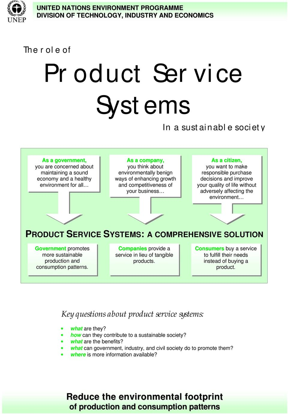 responsible purchase decisions and improve your quality of life without adversely affecting the environment PRODUCT SERVICE SYSTEMS: A COMPREHENSIVE SOLUTION Government promotes more sustainable