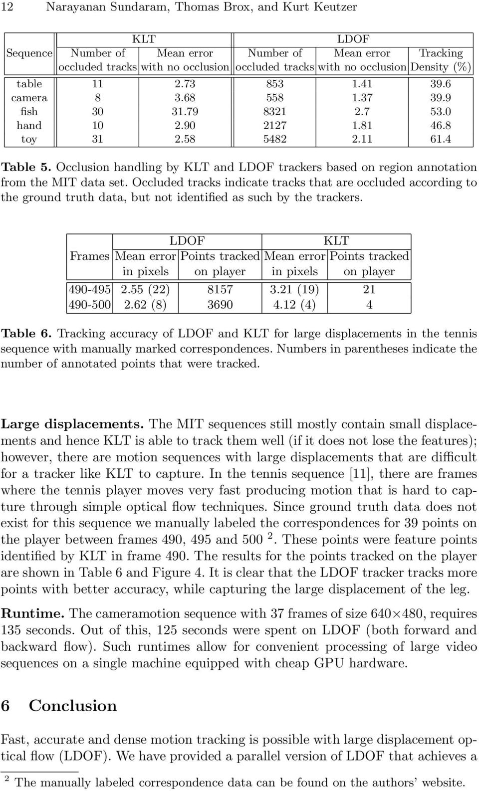 Occlusion handling by KLT and LDOF trackers based on region annotation from the MIT data set.