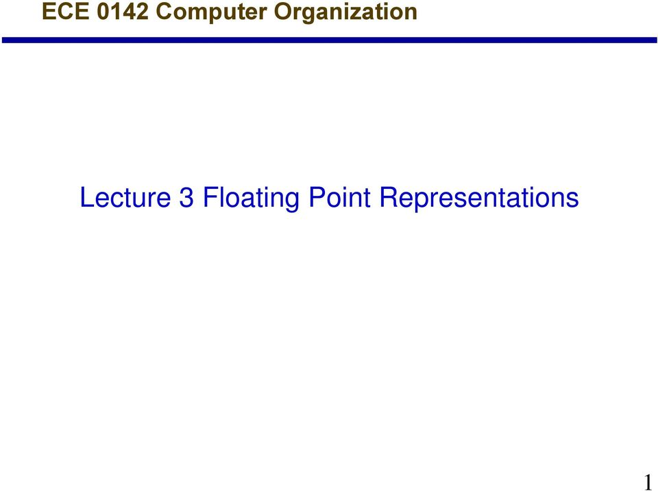 Lecture 3 Floating