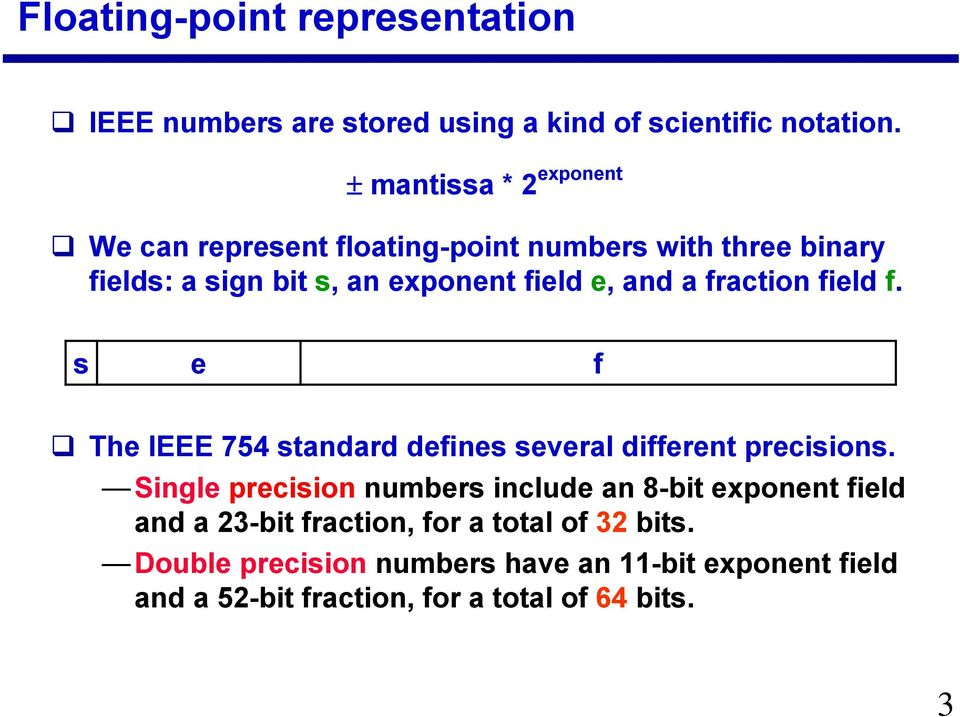 a fraction field f. s e f The IEEE 754 standard defines several different precisions.